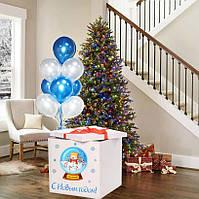 Новорічна Коробка-сюрприз велика з гелієвими кулями 70х70см (Сніговик в банку)+наклейка+декор+напис
