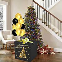 Новорічна Коробка-сюрприз велика з кулями 70х70см (чорно-золотий дизайн)+наклейка+декор+індивід.напис