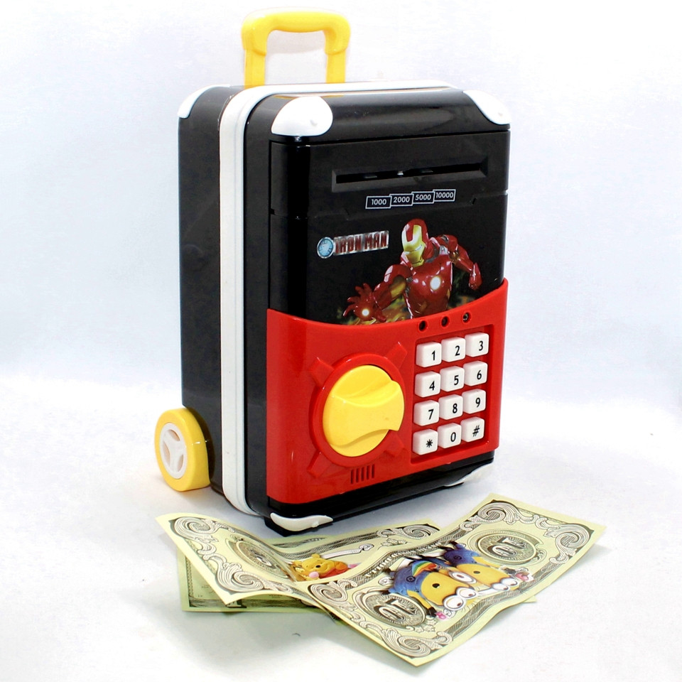 Детский игрушечный сейф копилка с кодовым замком и звуковыми эффектами Чемоданчик для денег Супер Герои