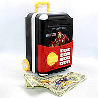 Детский игрушечный сейф копилка с кодовым замком и звуковыми эффектами Чемоданчик для денег Супер Герои, фото 1
