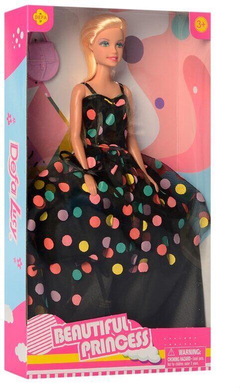 Кукла DEFA 8452-BF_bl черное платье в горох