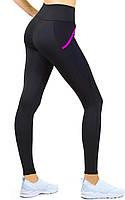 Спортивные лосины для фитнеса с утяжкой, женские спортивные леггинсы с карманами Valeri 1230 с розовым, фото 1