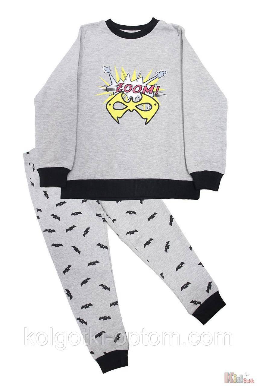 "ОПТОМ Упаковка (104-110-116-122-128-134)  Пижама штаны и кофта серая ""Zoom"" Pikidor 1111000001979"