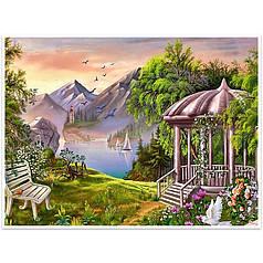 "Алмазна мозаїка Lesko DIY K797 ""Альтанка в горах"" 40x30 см вишивка стразами на полотні"