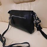 Женский черный кожаный клатч сумка, фото 2
