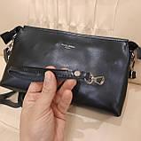 Женский черный кожаный клатч сумка, фото 3