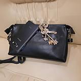 Женский черный кожаный клатч сумка, фото 4