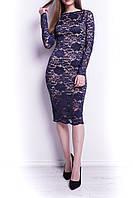 Нарядное гипюровое платье темно-синее.