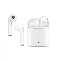 Универсальные беспроводные Bluetooth наушники с зарядным кейсом HBQ I7S TWS Classic Белые (1-i7s)
