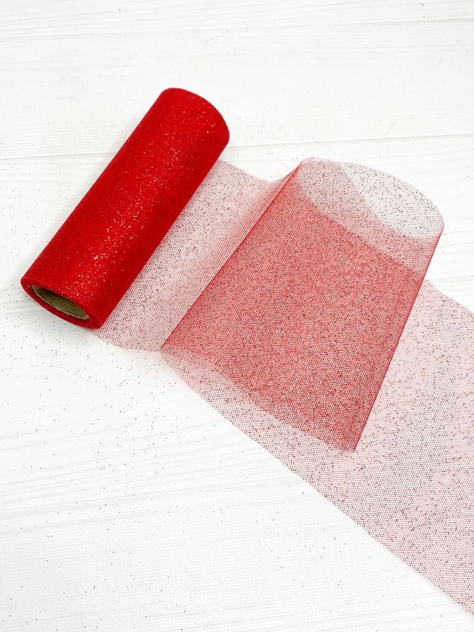 Фатин мелкий блеск 15 см красный
