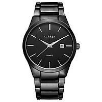 Мужские часы CURREN 8106 Black кварцевый механизм влагозащищенный корпус стальные наручные нержавеющая сталь