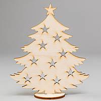 Новогодняя деревянная елочная игрушка заготовка Елочка со звездочками на подставке