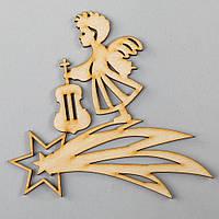 """Новогодняя деревянная елочная игрушка заготовка Подвеска """"Ангелочек-скрипач"""""""