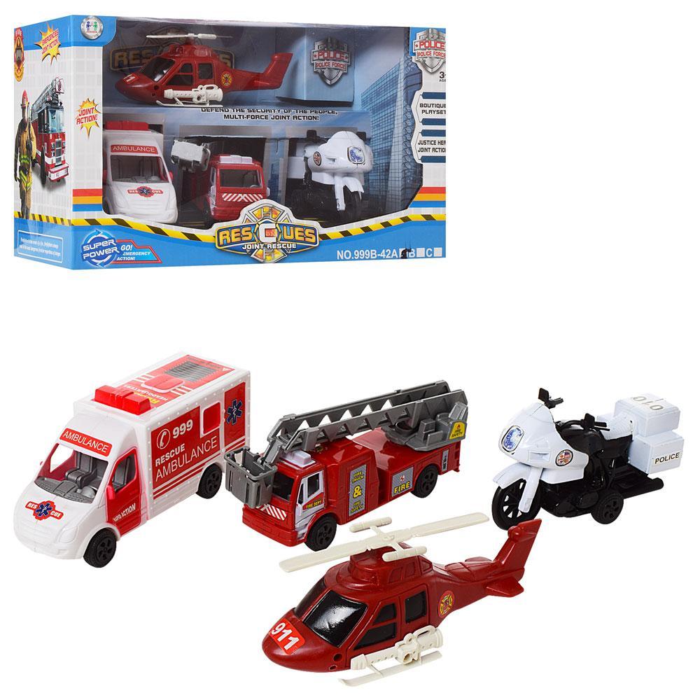 Набор игрушечных машинок пожарная полиция скорая вертолет