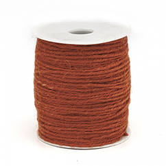 Бечевка декоративная, Цвет: Красно-оранжевый, Размер: Толщина 2мм, около 100м/катушка, кат(100м)