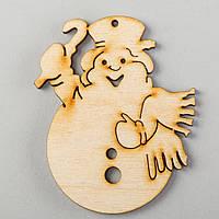 """Новогодняя деревянная елочная игрушка заготовка Подвеска """"Снеговик в шарфе"""""""