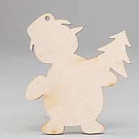 """Новогодняя деревянная елочная игрушка заготовка Подвеска """"Снеговик с елочкой"""""""