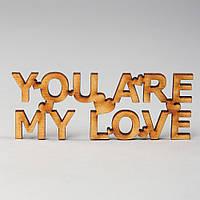 """Слова из дерева """"YOU ARE MY LOVE"""" - 9,5 х 3,8 см"""