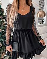 Трендовое женское лёгкое платье аккуратный вырез на груди и спинке рукава из сетки юбка с воланами, фото 1