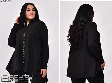 Нарядна блузка-туніка жіноча великого розміру, розміри: 52-54, 56-58, 60-62, 64-66, 68-70
