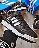Мужские кроссовки Adidas Forum Mid (черно/белые), фото 2