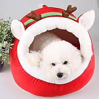 """Новогодний домик-лежак """"Олень"""" для кота, собачки. Оригинальный подарок на Новый Год любимому питомцу!, фото 1"""