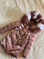 Шикарное зимнее пальто для девочки Бархат Шоколад с натуральным мехом, сидит идеально, фото 1