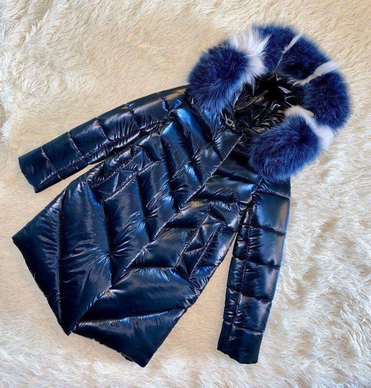 Шикарное зимнее пальто для девочки Бархат Синий с натуральным мехом, до минус 30 мороза