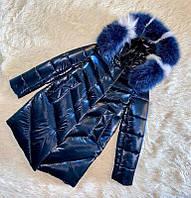 Шикарное зимнее пальто для девочки Бархат Синий с натуральным мехом, до минус 30 мороза, фото 1
