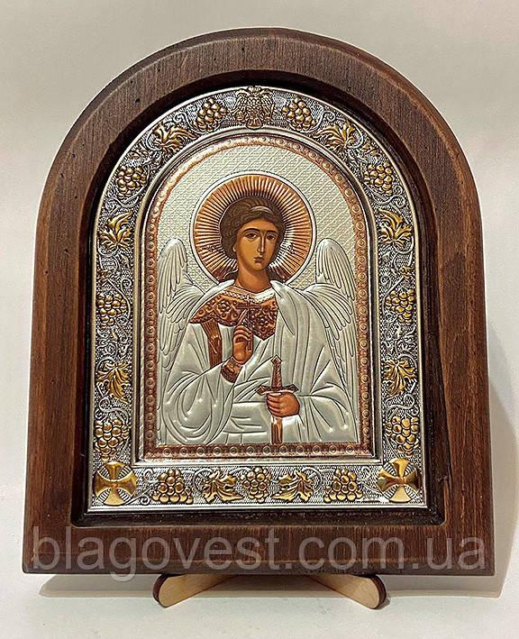 Икона на дереве Византикос полуоклад 160х190 серебрянные одежды
