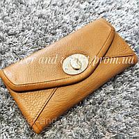 Стильний шкіряний жіночий гаманець коричневого кольору