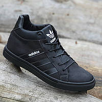 Кроссовки мужские зимние кожаные с натуральным мехом черные (код 4014) - кросівки чоловічі зимові шкіряні