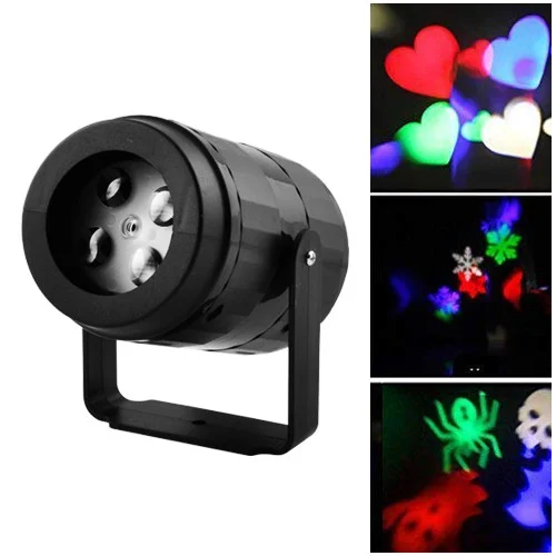 Лазер диско W886-3, 2 фиксированый рисунок, фигурки, лазер проектор, праздничное освещение, диско проектор