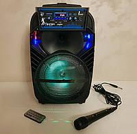 Колонка портативная акустическая Kimiso QS-801 с микрофоном (USB/BT/FM)