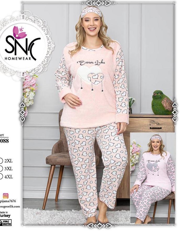Р-р 52, 54, 56, (Комплект для сна ), Пижама махровая женская теплая