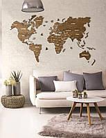 Дерев'яна карта світу на стіну з дерева - Одношарова/Настінний/Декоративна - Горіх