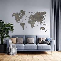 Деревянная карта мира на стену из дерева - Однослойная/Настенная/Декоративная - Серый