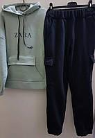 Трикотажный костюм-двойка утепленный для девочек, фото 1