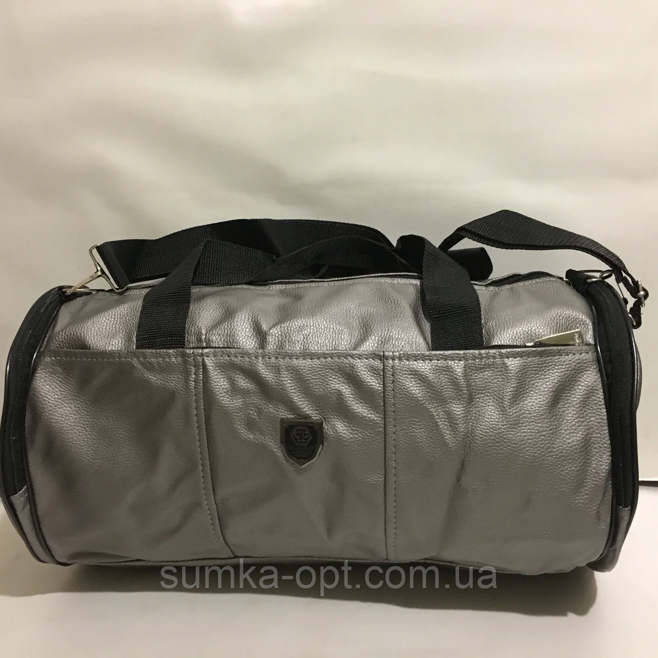 Спортивные большие сумки из эко кожи (СЕРЕБРО)24х46см