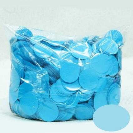 Конфетти голубое  кружочки  23 мм  . вес  25 гр.