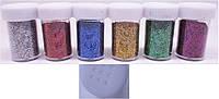 """Набір для творчості 988-1 """"Пісок блискучий"""" в банку, 6цветов уп12"""