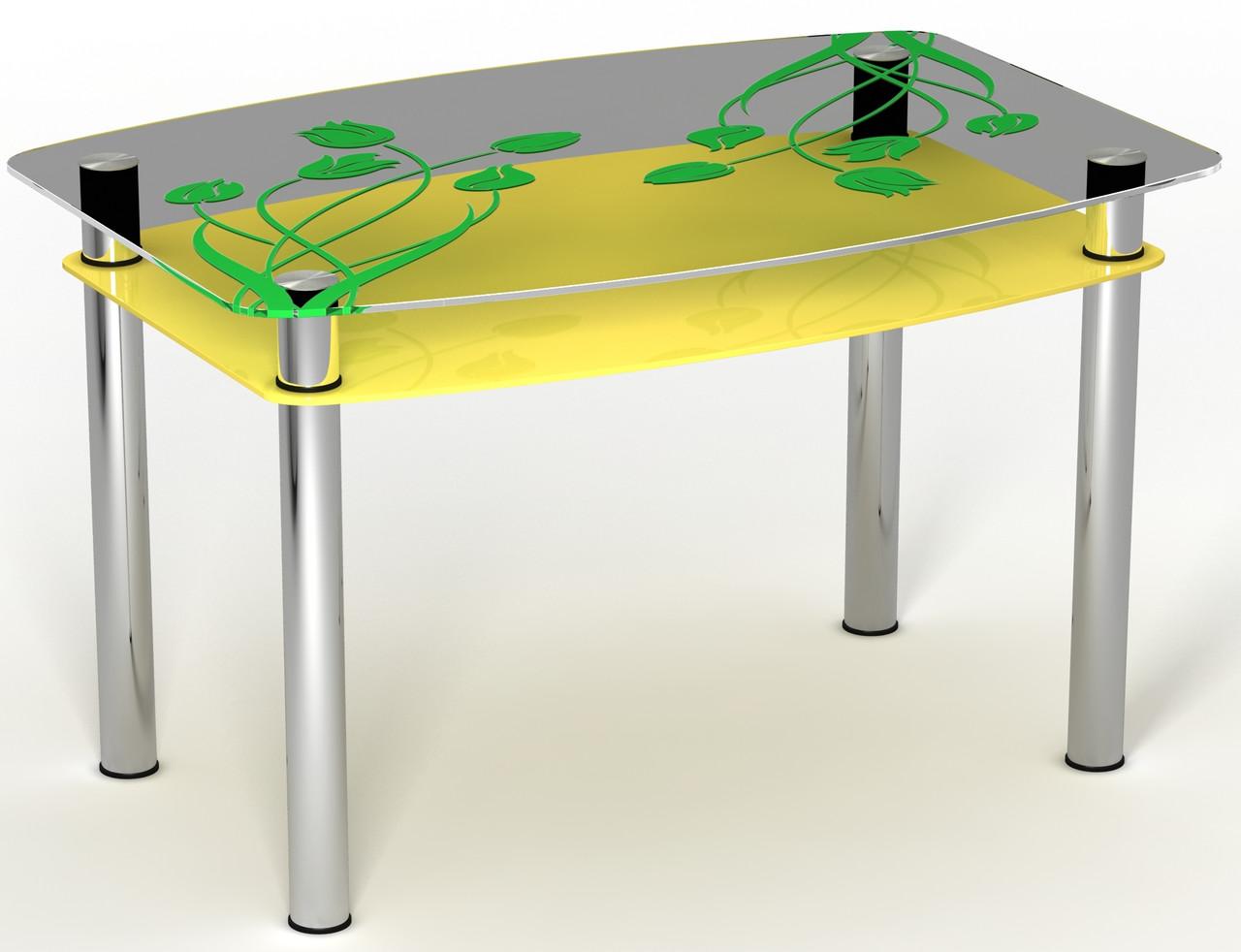 Стол двухполочный на хромированных ножках Желтые тюльпаны ТМ Sentenzo