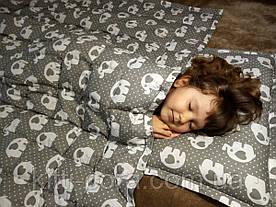 Детское утяжеленное одеяло. 110х140см, 4кг, с кармашками на замочках и наполнителем из гречневой шелухи