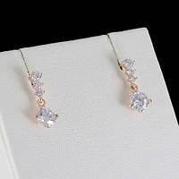 Шикарные серьги с кристаллами Swarovski, покрытые золотом 0603, фото 1