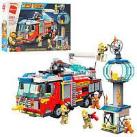 Конструктор Qman 2809 пожежна, машина, станція, фігурки, 647 дет., кор., 52-34-6,5 см.