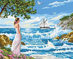 Картина по номерам Девушка и море 40х50 см, BrushMe (GX24127)