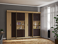 Две односпальные шкаф-кровати в модуле с пеналами и полками, фото 1