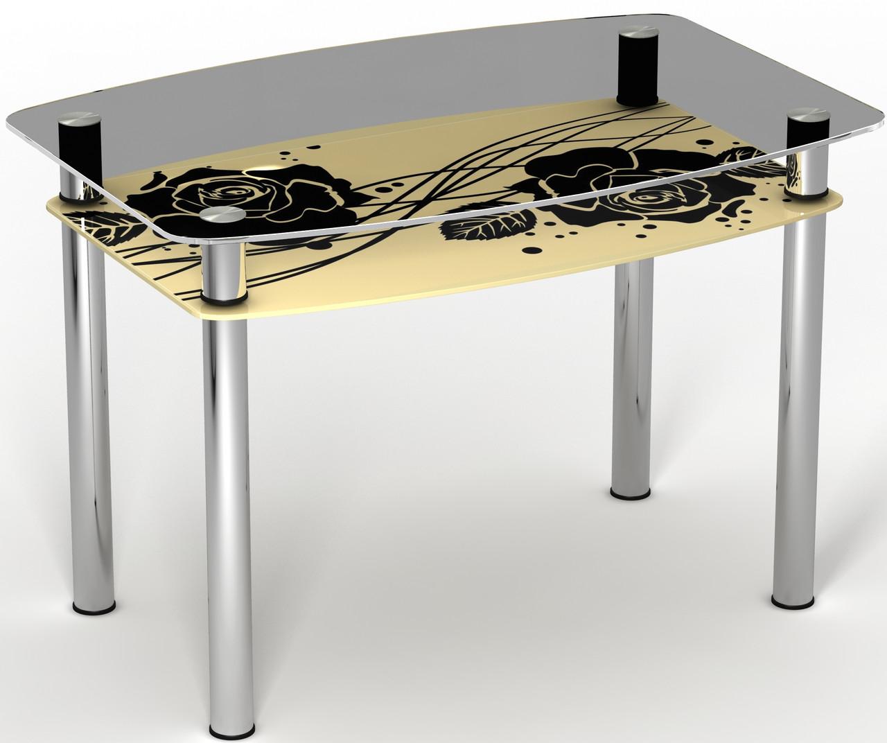 Стол двухполочный на хромированных ножках Камелия ТМ Sentenzo