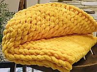 Плюшевий плед із пряжі Alize Puffy жовтий