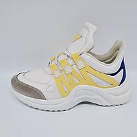 Кроссовки женские, подростковые бело - жёлтые Navigator ( в стиле Louis Vuitton).